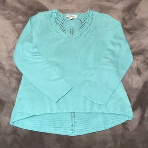 Turquoise sweater with detailed back